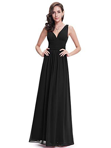 Ever-Pretty Womens Semi Formal V Neck Sleeveless Wedding Guest Dress 12 US Black