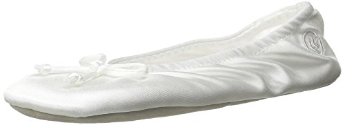 Isotoner Women's Satin Ballerina Slipper with Bow, Suede Sole, White, Large / 8-9 US