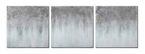 Glitter Wall Art (3Hdeko - Gray Abstract Wall Art Silver Glitter Embellished Canvas Artwork Hand-Brushed Gradient Grey Textured Painting for Living Room Bedroom, 3 Piece Minimalist Home Decor, Stretched)