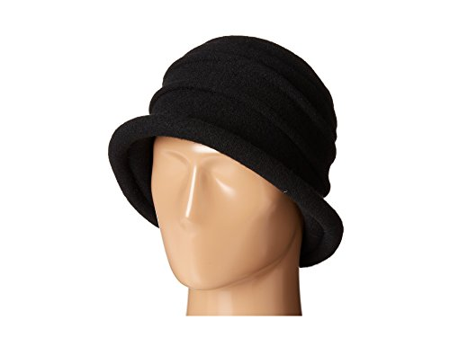 Scala Collezione Women's Boiled 100% Wool Cloche Hat, Black, One - Crusher Hat Cotton