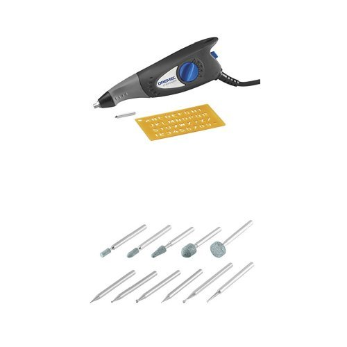 Dremel 7,200 Stroke Per Minute Engraver includes Letter and Number Template with Rotary Tool Carving and Engraving Kit by Dremel