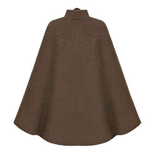 Suelta Las Mujeres La Larga Chaqueta Alto Estilo De Abrigo Manga Invierno Capa Ropa Cálido Vintage brown Abrigos Inglaterra Cuello xl Lujo wtqfnZA