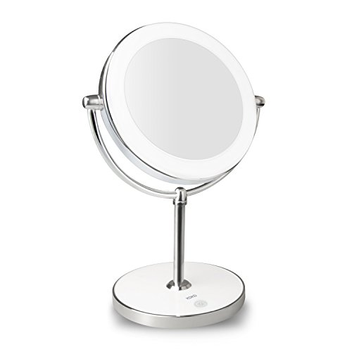 KDKD Lighted Makeup Mirror 1X 7X Magnification Double Sided Round Shape w/ Base Touch Button - White