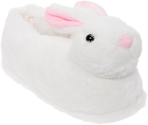 Cheek Bunny - Silver Lilly Light Up LED Bunny Slippers - Plush Novelty Animal Slippers (White, Medium)