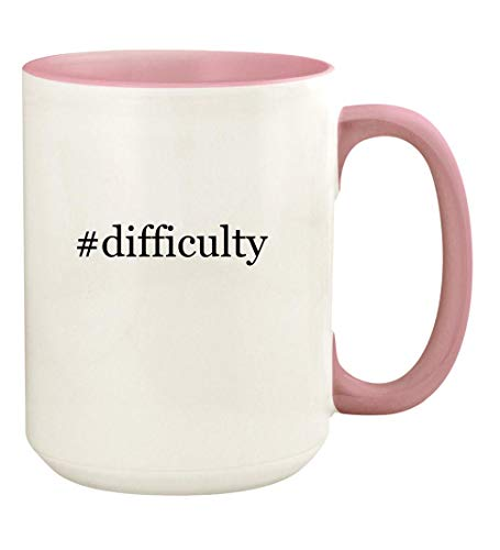 #difficulty - 15oz Hashtag Ceramic Colored Handle and Inside Coffee Mug Cup, Pink
