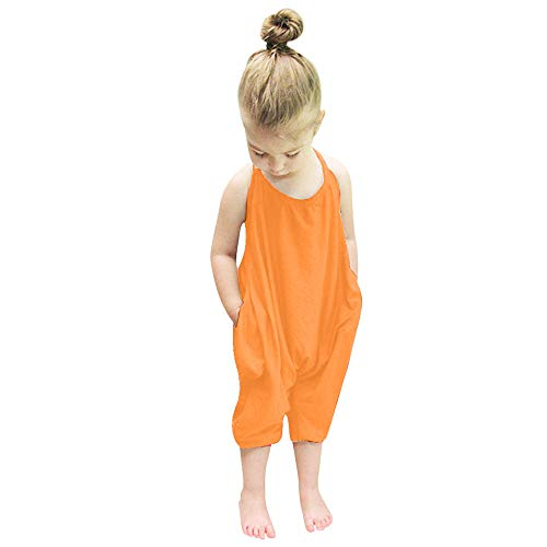 F_Gotal Children Clothing Girls Fashion Cute Solid Color Straps Rompers Pants Toddler Infant Kids Clothes Gifts Orange
