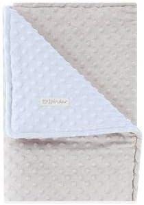 Pirulos 64005153 - Manta doble cara, 80 x 110, diseño dots, color gris/azul