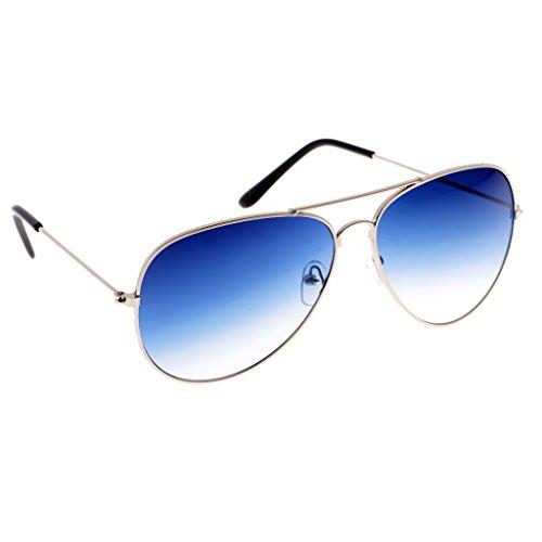 Sharplace Femme Bleu Homme de Soleil Monture Dégradation Lunettes Argent Couleur Aviateur BOrwtqgBnx