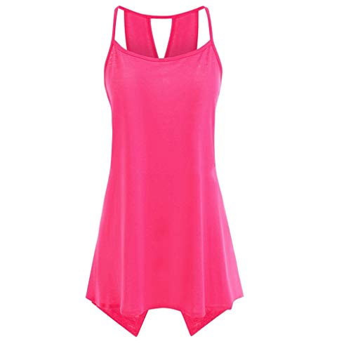 Londony ♪ Women's Short Sleeve Scoop Neck T Shirt Casual Tops Solid Sleeveless Tunic for Leggings Swing Flare Tank Tops Pink