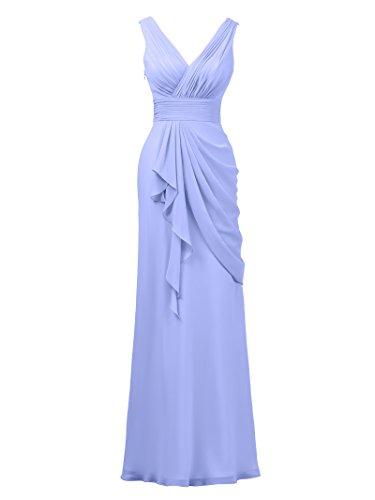 Women's Long Bridesmaid Party Sleeveless Evening Lavender Dress Prom Alicepub Gown Chiffon XPf1q