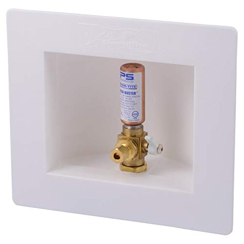 Sharkbite 25033A Ice Maker Outlet Box with Water Hammer Arrestors, 1/2 inch x 1/4 inch Compression, Push-to-Connect Copper, PEX, CPVC, PE-RT Pipe (Renewed) (Cpvc Water Hammer)
