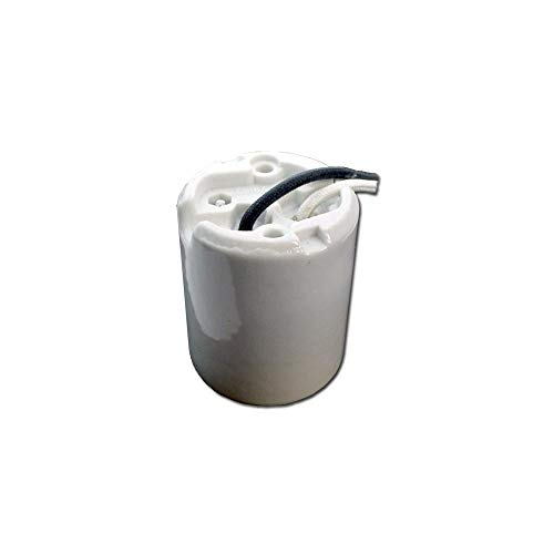 Leviton 8756-J Incandescent Lampholder, Mogul Base, with Leads, 1500 W, 600 V, Keyless, Porcelain Body, White