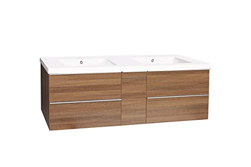 "Dyconn Faucet VCFL60M Nario Collection 60"" Freefloating Bathroom Vanity with Double Stone Resin Countertop Basin, Brown - Vanity set: includes base cabinet (with four drawers / one door) and double basins High-grade construction: made of high-density wood fibers to achieve outstanding durability and stability for prolonged use Pre-drilled 1 3/8 faucet hole and 1 7/10 drain hole for additional convenience - bathroom-vanities, bathroom-fixtures-hardware, bathroom - 31t0WJZ5NxL -"