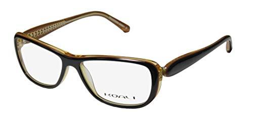 Koali By Morel 7184k For Ladies/Women Designer Full-Rim Shape Hip Ophthalmic Fashion Accessory Eyeglasses/Eyeglass Frame (53-14-130, Black/Brown / Transparent ()