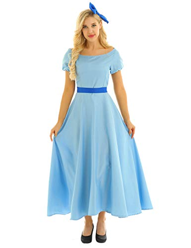 (Freebily Womens Girls Princess Fancy Dress Maxi Dress Halloween Cosplay Costume Light Blue)