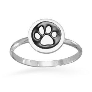 - Enamel Paw Print Ring / Size 3