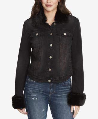 William Rast Women's Sussex Denim Jacket, Darkest Dream Faux Fur Trim L