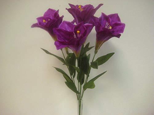 JumpingLight Purple Deluxe Amaryllis Bush Artificial Silk Flower 25'' Bouquet 7-785PU Artificial Flowers Wedding Party Centerpieces Arrangements Bouquets Supplies - Bush Amaryllis