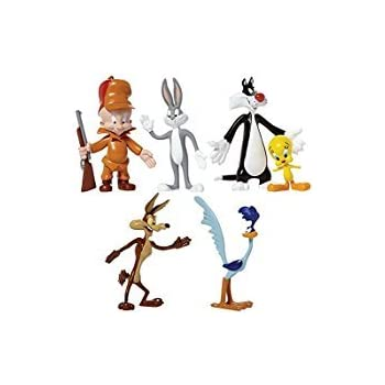 Looney Tunes Bendable Figures set, includes Wile E. Coyote, Road Runner, Elmer Fudd, Bugs Bunny, Sylvester, Tweety.