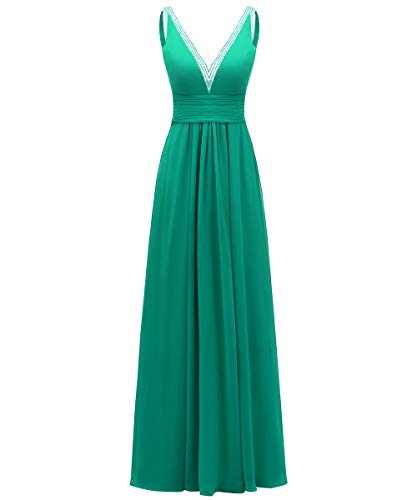 V-Neck Bridesmaid Dresses Long A-Line Chiffon Wedding Evening Dress Prom Party Gown Green 10 (Sweetheart Neck Beading Chiffon)
