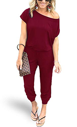AMiERY Womens Sexy Jumpsuit One Off Shoulder Jumpsuits Rompers Red Medium ()
