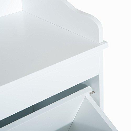 New White Bathroom Hamper Wood Laundry Tilt Out Basket Storage Bench Furniture Cabinet by totoshop (Image #4)