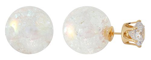 Front Back Earrings with Round Cut CZ in Crown Setting and Aurora Borealis Ball by Lovey Lovey