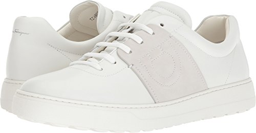 Salvatore Ferragamo Men's Cult Leather Sneakers, White/Grey, 11 M US (Ferragamo White Leather)