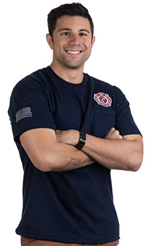 Firefighter Embroidered Cross Pocket Tee | Fire Fighter Rescue Courage Red Line T-Shirt-(Pocket,M) ()