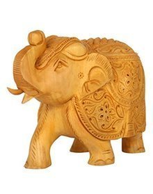 Zap Impex Hand-Carved Wooden Floral Collectible Elephant Sculpture Figure - Table & Home Decorations (6 Inch)