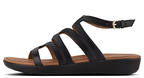 FitFlop 6 Black Gladiator UK Sandals Leather Black Strata 40 rraRqHw