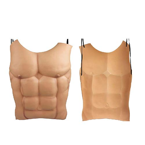 wintefei Nude Skin False Muscle Masquerade Costume Tricky Prop Cosplay Fake Macho Chest]()