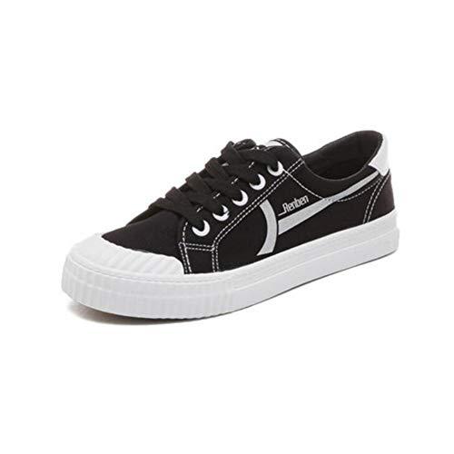 FH Zapatos de Lona Mujer Estudiantes Salvajes Zapatos Blancos Zapatos Femeninos de Harajuku (Color : Negro, Size : EU36/UK4/CN36)