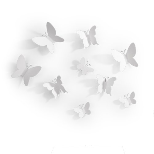 Umbra Mariposa – Metal Wall Décor, White, Set of 9 (Set Metal Decor Wall)