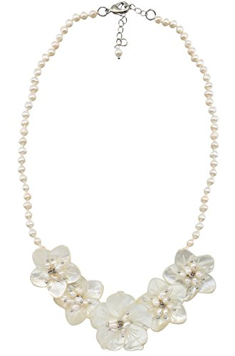 MagicYiMu White Bib Beaded Strands Flower Shell Necklace with Synthetic Pearl Jewelry for - Flowers Necklace Beaded