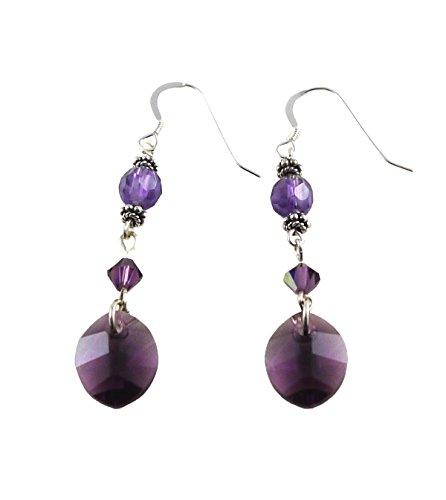 Drop Earrings Hook Amethyst (Dangling Faceted Amethyst Earrings with Swarovski Leaf Shaped Drops - French Hooks, Sterling Silver)
