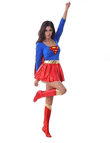 (Peachi Women's Halloween Cosplay Party Costume Inspired by Supergirl Superwoman Adult Costum One)