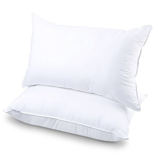 LANGRIA Luxury Hotel Collection Bed Pillows Plush Down Alternative Sleeping Pillow Cotton Cover Soft Comfortable For Side Back Stomach Sleeper Queen 20 x 30 (2 Pack)