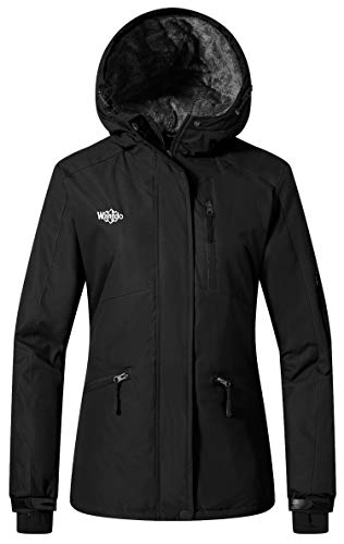 Wantdo Women's Skiing Jacket Waterproof Rainwear Wind Block Sportswear Black L