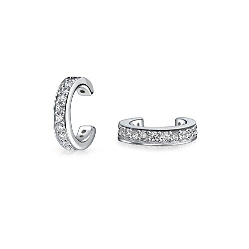 Minimalist Cubic Zirconia Pave CZ Band Cartilage Ear Cuffs Clip Wrap Helix Earrings For Women 925 Sterling Silver