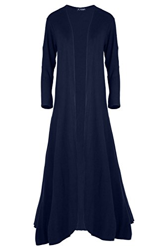 Womens Ladies Plain Open Front Floaty Waterfall Oversized Baggy Maxi Cardigan Navy (Oops Outlet)