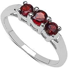 Silvancé - Women's Ring - 925 Sterling Silver - Genuine Gemstone: Garnet - R626G
