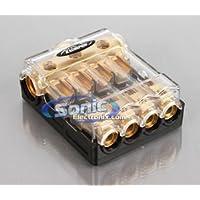 Xscorpion AGU3044G Gold AGU Power Distribution Block w/ Three 0/2/4 Gauge Ins & Four 4/8 Gauge Outputs w/ Adapters