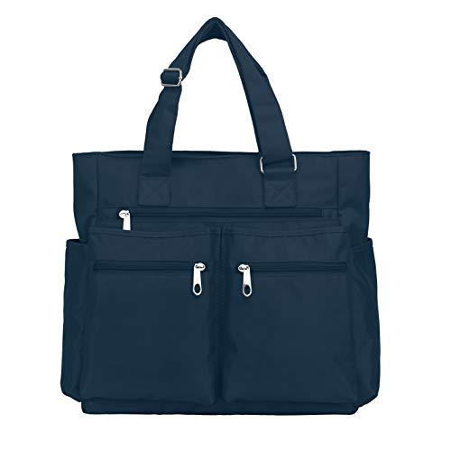 - Waterproof Nylon Oxford Large Tote Bags Multi-pocket Fashion Travel Laptop Work Purse for Women & Men (Blue)