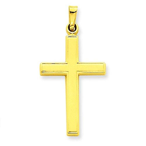 Or 14ct Pendentif Croix creux-Dimensions 32,5x 16.5mm