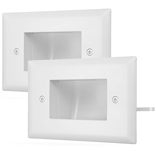 (Fosmon 1-Gang (2 Pack) Recessed Low Voltage Cable Plate In-Wall Installation for Speaker Wires, Coaxial Cables, HDMI Cables, or Network/Phone Cables (White))