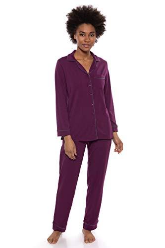 (Texere Women's Button-Up Long Sleeve PJs (Classicomfort, Concord Grape, L) Cute)