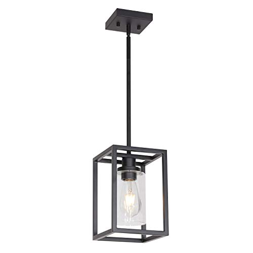 VINLUZ 1 Light Classic Farmhouse Glass Pendant Lighting Black Metal Hanging Fixture with Clear Glass Shade for Entryway Dining Room Kitchen Foyer