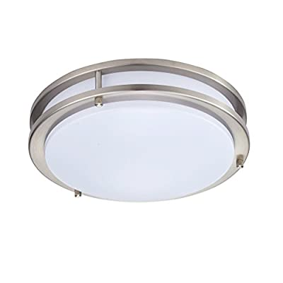 Britelight 16 inch LED Flush Mount Ceiling Light, Dimmable, Brushed Nickel, 25W 1750 Lumens 3000K Warm White, 5 years warranty