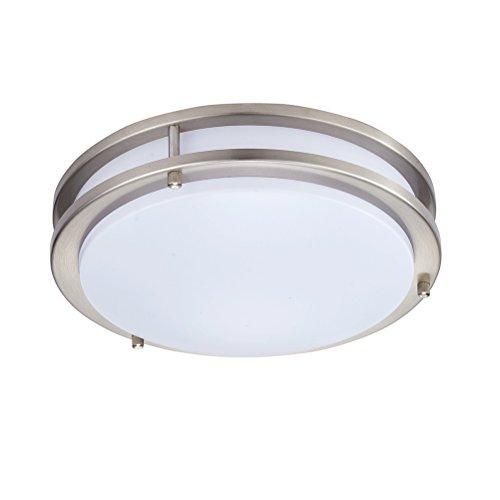 3 Matt Light Nickel - Kingbrite LED Flush Mount Ceiling Light 16 inch, Dimmable, Brushed Nickel, 25W 1750 Lumens 3000K Warm White,Matt White Acrylic